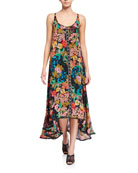 Johnny Was Logan Floral Print High-Low Tank Dress