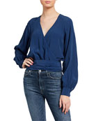 7 for all mankind Tie-Back Long-Sleeve Wrap Top
