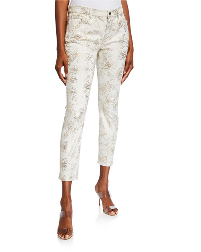 Printed High-Rise Ankle Skinny Jeans