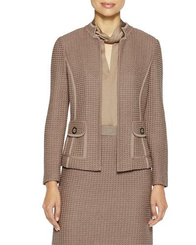 Modern Dimensional Textured Knit Jacket