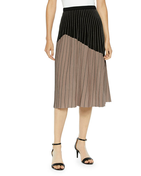 Misook Two-Tone Crystal Pleated A-Line Midi Skirt