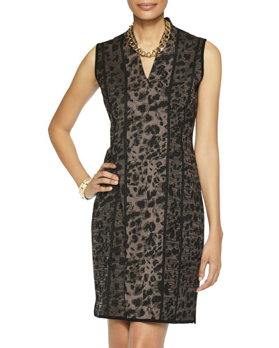 Leopard Pattern V-Neck Sleeveless Sheath Dress
