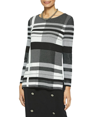 Graphic Plaid Knit Long-Sleeve Tunic