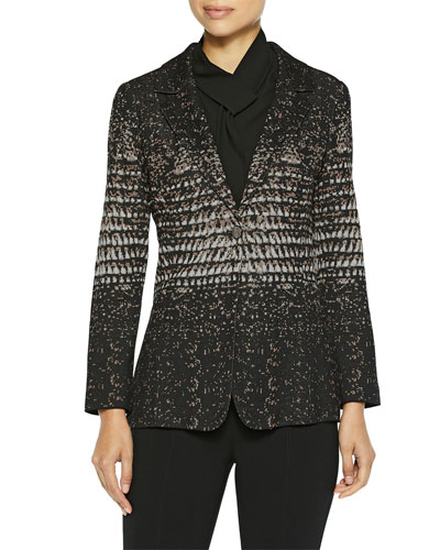 Ombre Jacquard Knit One-Button Blazer