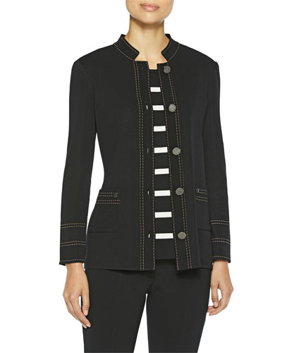 Plus Size Contrast Dash Trim Knit Jacket