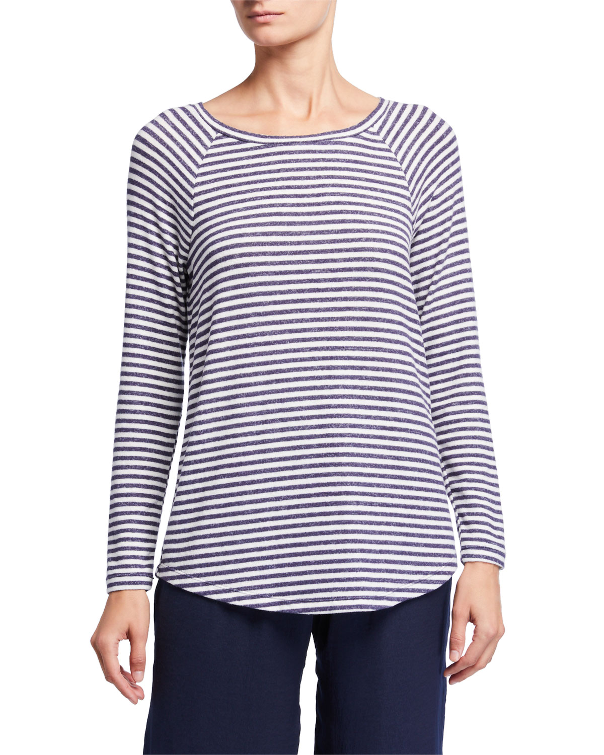 NIC + ZOE PETITE RELAX IN STRIPED LONG-SLEEVE TOP