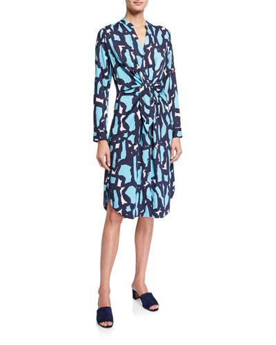 Vivid Giraffe Tie-Front Dress