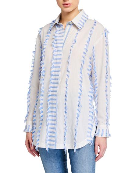 Finley Fringe-Trim Vertical Stripes Boyfriend Shirt