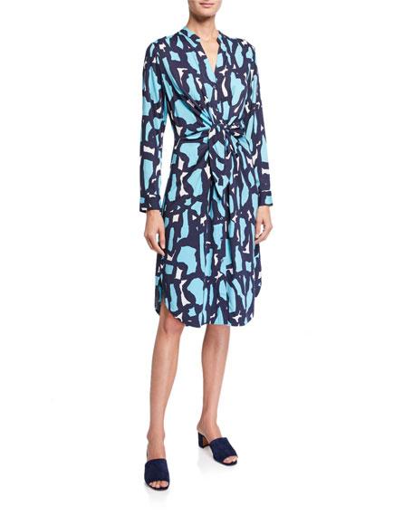 NIC+ZOE Petite Vivid Giraffe Tie-Front Dress
