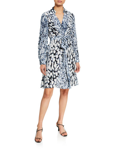 Saxton Abstract Long-Sleeve Georgette Dress