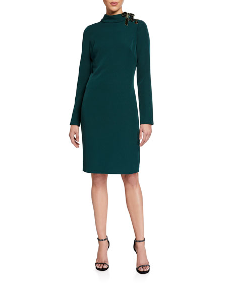 Badgley Mischka Collection Mock-Neck Long-Sleeve Dress w/ Laced Ribbon Shoulder Detail