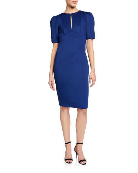 Badgley Mischka Collection Keyhole Puff-Sleeve Scuba Dress