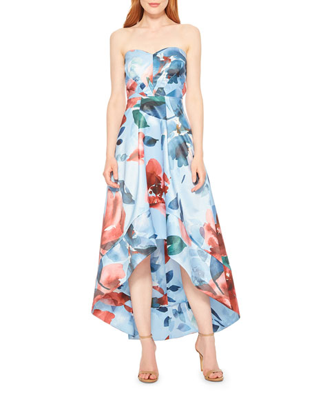Parker Black Clara Floral Strapless High-Low Midi Dress