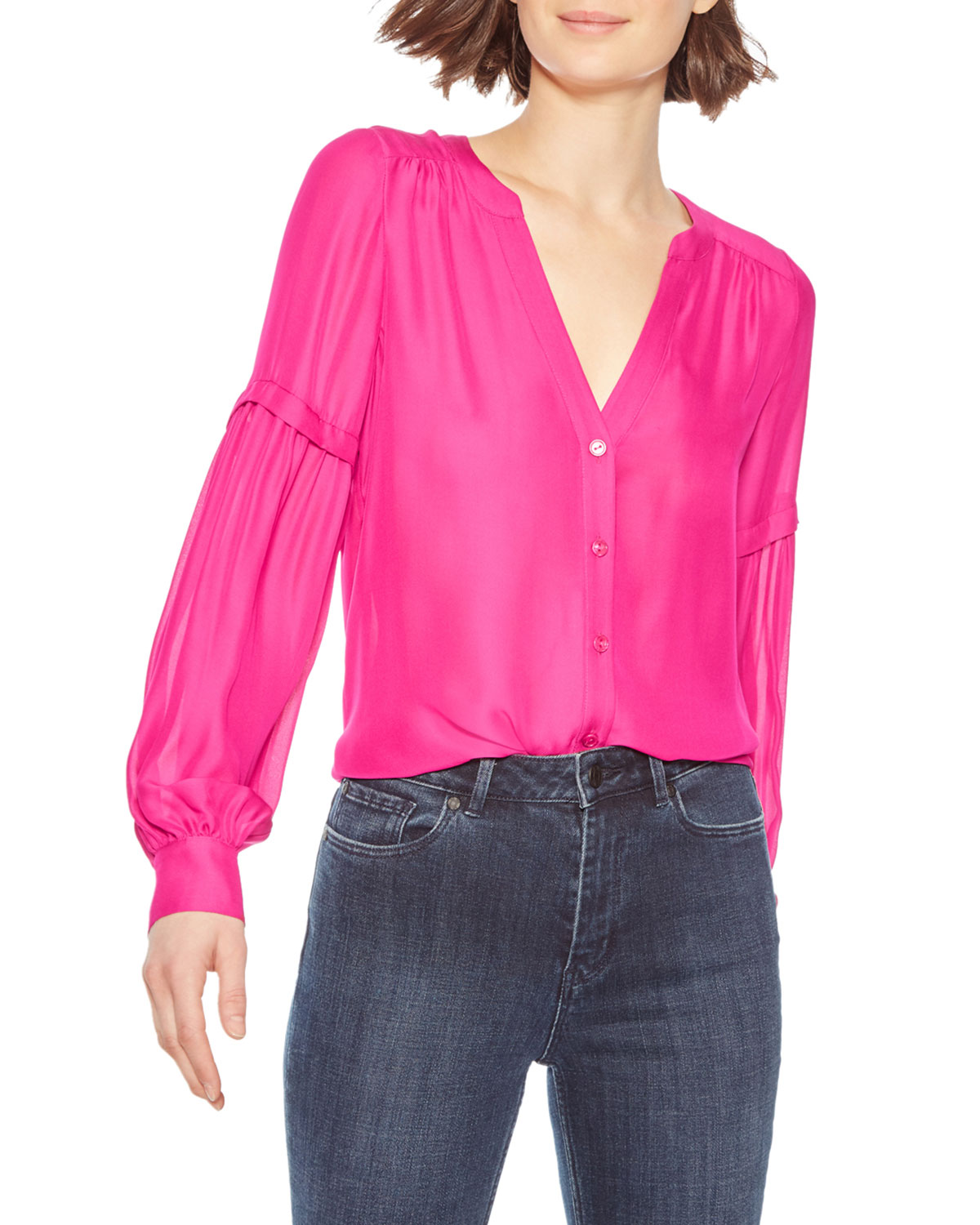 Parker Tops CARMELA BUTTON-FRONT BLOUSE
