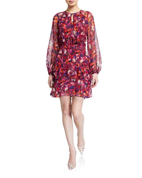 Parker Marengo Floral-Print Long-Sleeve Dress
