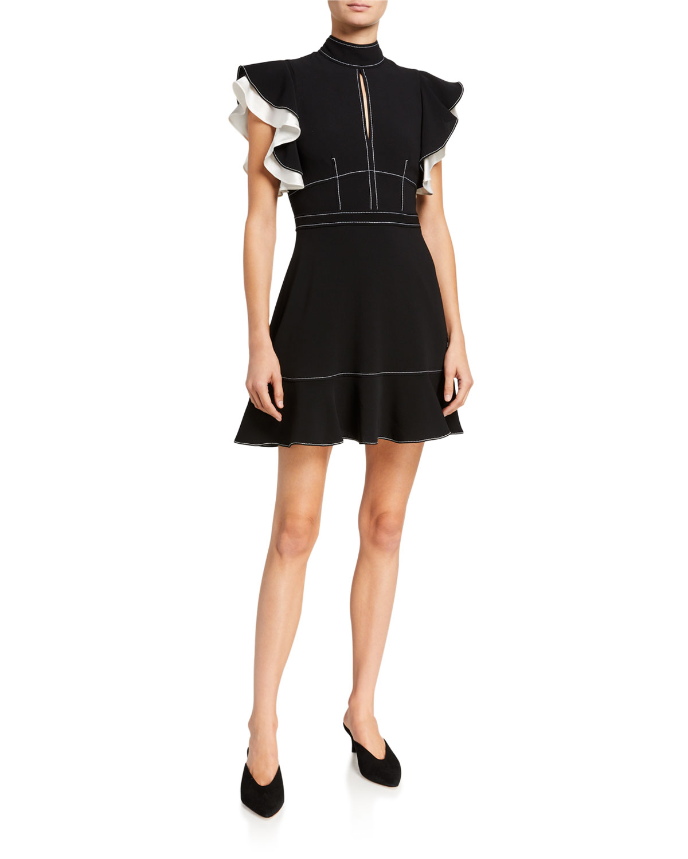 Cinq À Sept Dresses REIKA FLUTTER-SLEEVE CREPE DRESS