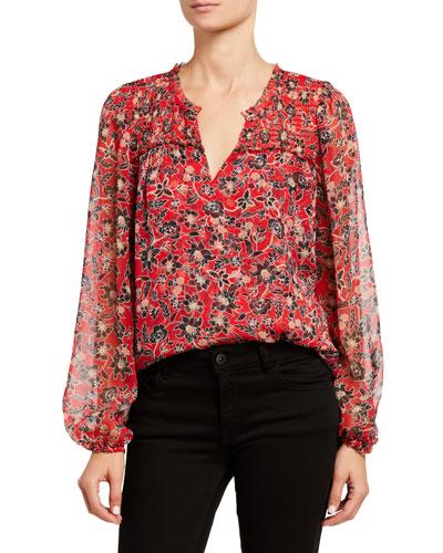 Dauphine Floral-Print Silk Blouse