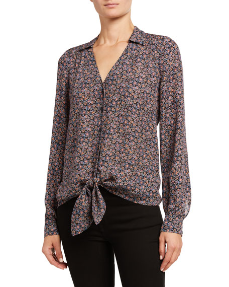 Parker Ari Collared Tie-Front Blouse