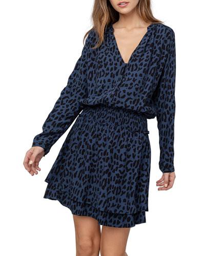 Jasmine Leopard-Print Long-Sleeve Tiered-Skirt Dress