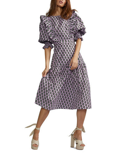 Campbell Geometric Midi Ruffle Dress