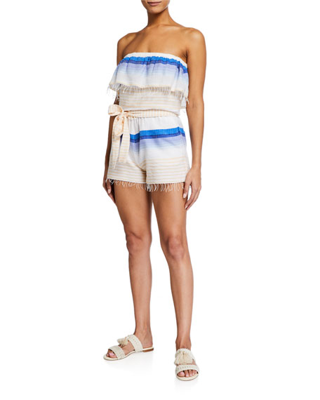 lemlem Biftu Striped Strapless Coverup Romper