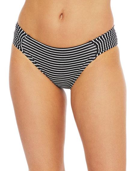 La Blanca Pin Striped Side Shirred Bikini Bottom