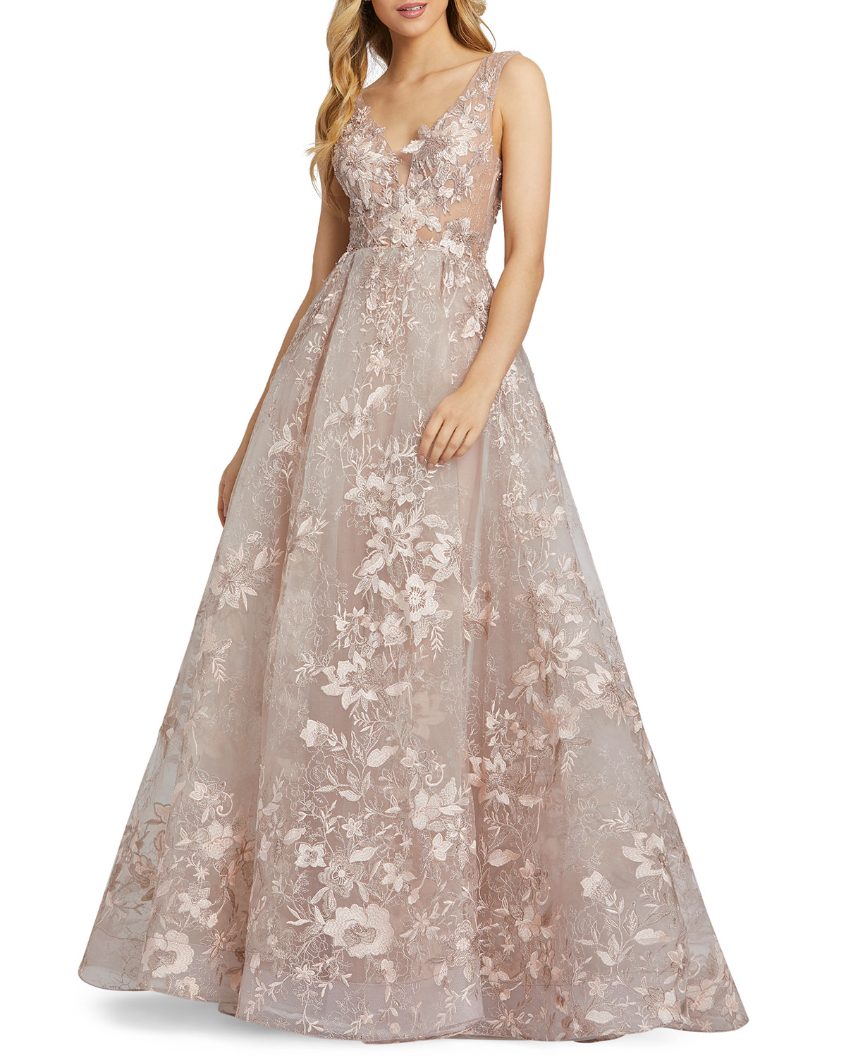 Mac Duggal FLORAL EMBROIDERED EMPIRE ILLUSION BALL GOWN