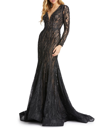 Bead Embellished Long-Sleeve Lace Mermaid Gown