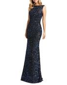 Mac Duggal Sequin Cowl-Back Sleeveless Gown