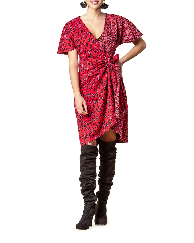 Cameo Animal-Print Faux-Wrap Short-Sleeve Dress