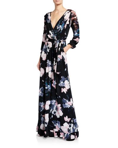 Plus Size Floral Luxe Jersey Faux Wrap Maxi Dress
