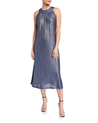 Bib Halter-Neck Foiled Rib Jersey Dress