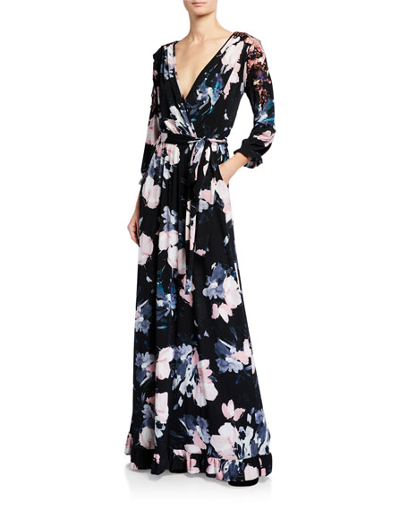 Melissa Masse Floral Luxe Jersey Faux Wrap Maxi Dress