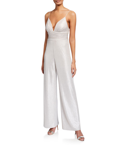 Aidan by Aidan Mattox Foiled Knit Cami Top Jumpsuit