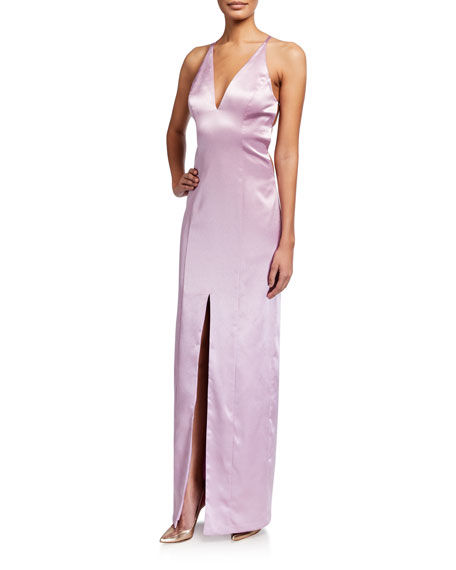 Aidan by Aidan Mattox Satin Deep V T-Back Halter Column Gown