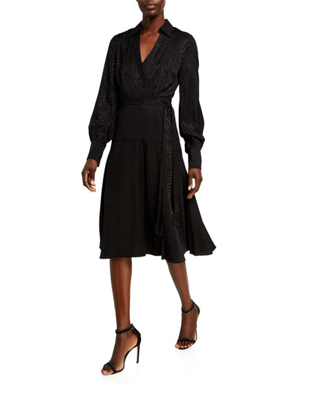Jay Godfrey Manning Long-Sleeve Collared Wrap Dress