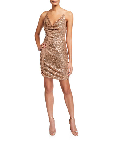 Paris Sequin Cowl-Neck Mini Dress