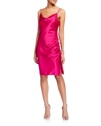 Mandy Cowl-Neck Ruched Satin Dress