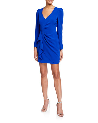 Clinton V-Neck Long-Sleeve Faux Wrap Dress