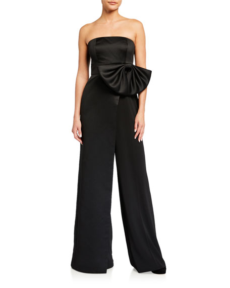 Jay Godfrey Kings Strapless Overskirt Jumpsuit with Bow Waist