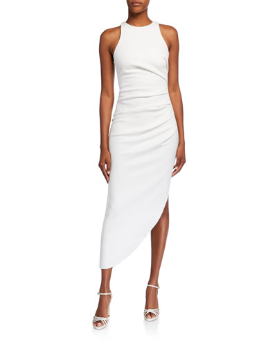 Ida Shirred Asymmetric-Hem Halter Dress