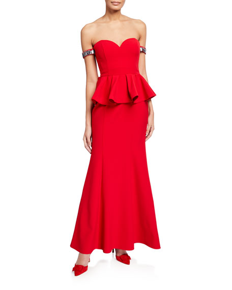Aidan Mattox Twill Bustier Peplum Gown with Beaded Bands