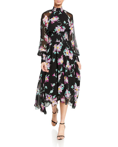 Casey Floral High-Neck Midi Dress