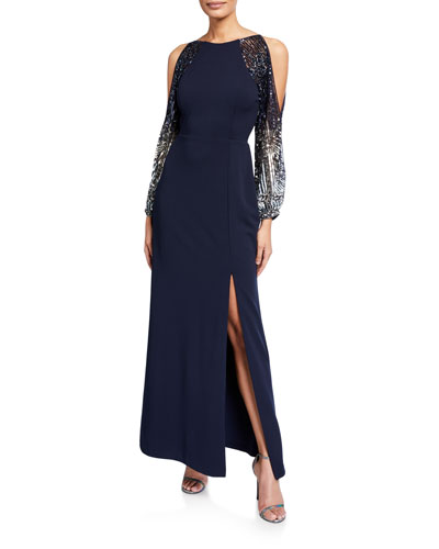 Beaded Split-Sleeve Crepe Column Gown