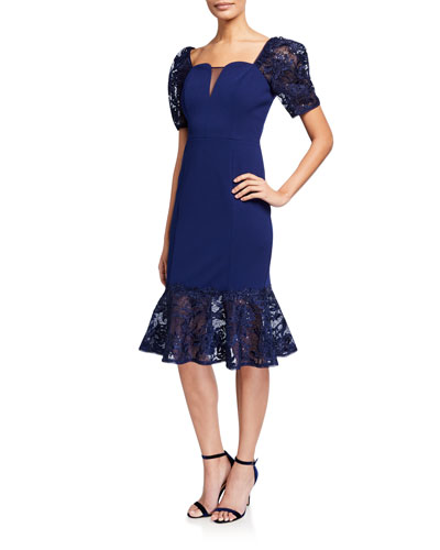 Short-Sleeve Crepe Dress with Lace Trumpet Skirt
