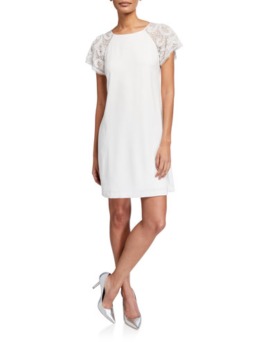 Lace Short-Sleeve Crepe Trapeze Dress