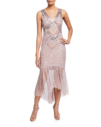 V-Neck Sleeveless Beaded Lace Dress