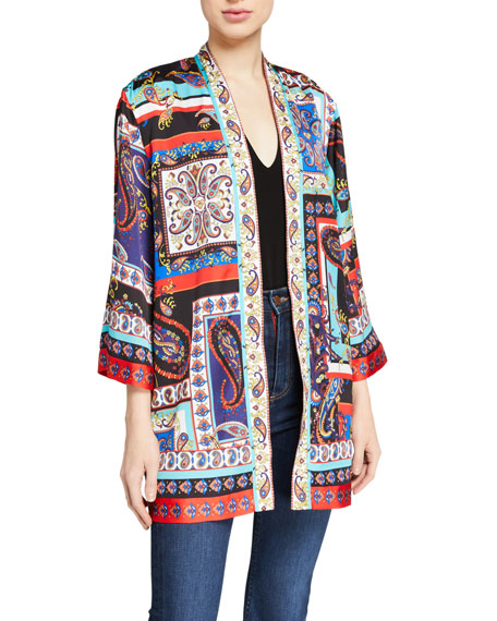 Alice + Olivia Koko Patchwork Printed Kimono Jacket