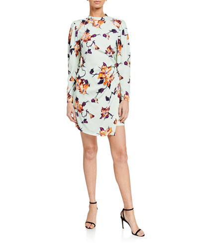 Jane Floral Crepe Puff-Sleeve Dress