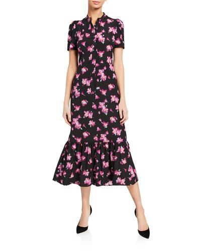 Dylan Floral Short-Sleeve Flounce Dress